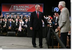 President George W. Bush listens to a question from the audience at the Gaylord Opryland Resort and Convention Center Thursday, July 19, 2007 in Nashville, Tenn., where President Bush addressed economic and budget issues. White House photo by Chris Greenberg