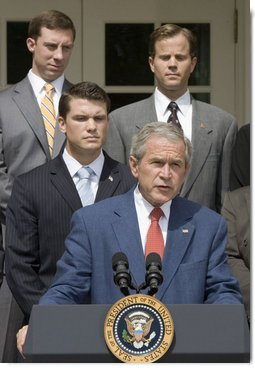 "President George W. Bush delivers a statement on the Global War on Terror in the Rose Garden Friday, July 20, 2007. ""It is time to rise above partisanship, stand behind our troops in the field, and give them everything they need to succeed,"" announced the President. White House photo by Joyce N. Boghosian"