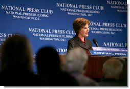 "Mrs. Laura Bush speaks at the National Press Club Newsmakers Luncheon Wednesday, July 25, 2007, in Washington, D.C. Mrs. Bush talked about her recent trip to Africa and the President's initiative to fight AIDS, ""This is the beginning of a long journey. The challenges of this pandemic remain immense, and there is much to be done. We must focus on HIV prevention, which is essential to winning the fight against AIDS."" White House photo by David Jolkovski"