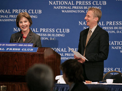 "Mrs. Laura Bush participates in a question and answer session after addressing the National Press Club Wednesday, July 25, 2007 in Washington D.C. Mrs. Bush, joined by National Press Club President Jerry Zremski, talked about inspiring stories of what people are doing to help those with HIV/AIDS. ""But certainly one of the most moving parts is the work that so many groups are doing on ground in Africa,"" said Mrs. Bush. ""(Bruce Wilkinson, Director of the RAPIDS Consortium), have a donor who has given 23,000 bicycles to Zambia, so that the care-givers that we met can literally go door to door in their neighborhoods and find out who needs help."" White House photo by Shealah Craighead"