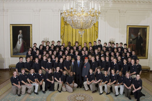 President George W. Bush poses with boy members of the 2007 Boys and Girls Nation delegates Wednesday, July 25, 2007, following his address to the group in the East Room of the White House. White House photo by Joyce N. Boghosian