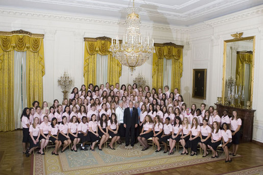 President George W. Bush poses with girl members of the 2007 Boys and Girls Nation delegates Wednesday, July 25, 2007, following his address to the group in the East Room of the White House. White House photo by Joyce N. Boghosian