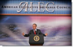 "President George W. Bush addresses the American Legislative Exchange Council Thursday, July 26, 2007, at the Philadelphia Marriott Downtown. The President urged the legislators to ""to not rely upon the latest opinion poll to tell you what to believe. I ask you to stand strong on your beliefs, and that will continue to make you a worthy public servant.""  White House photo by Chris Greenberg"