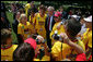 President George W. Bush talks with Special Olympic Team USA athletes after a Special Olympics Global Law Enforcement Torch Run Ceremony Thursday, July 26, 2007, in the Rose Garden. White House photo by Eric Draper
