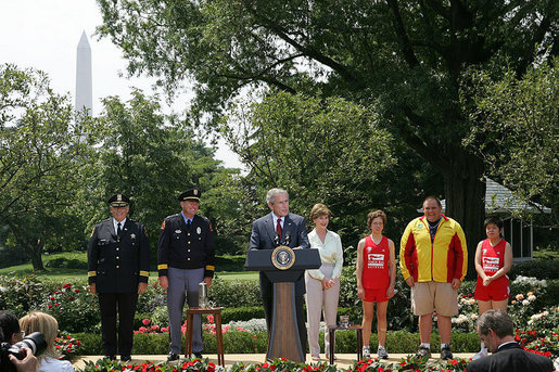 "President George W. Bush speaks during a Special Olympics Global Law Enforcement Torch Run Ceremony Thursday, July 26, 2007, in the Rose Garden. ""And to the family members and coaches and supporters, I thank you for helping our fellow citizens understand that the promise of this country belongs to every citizen,"" said the President. ""Over four decades, the Special Olympics has changed the lives of millions of people across the world."" White House photo by Joyce N. Boghosian"