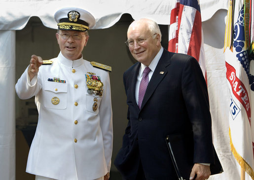 "Vice President Dick Cheney talks with Vice Chairman of the Joint Chiefs of Staff Admiral Edmund P. Giambastiani, Jr., Friday, July 27, 2007, during a retirement ceremony for ""Admiral G"" in Annapolis, Md. Admiral Giambastiani has served in the U.S. Navy for 37 years. White House photo by David Bohrer"