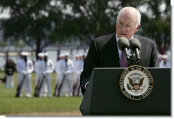 "Vice President Dick Cheney delivers his remarks at the Armed Forces Farewell Tribute and Retirement Ceremony for Vice Chairman of the Joint Chiefs of Staff Admiral Edmund P. Giambastiani, Jr., Friday, June 27, 2007, at the United States Naval Academy in Annapolis, Md. ""He will always be remembered as one of the military leaders who brought us into the 21st century -- with a clear understanding of this technological age, and an absolute determination to preserve America's competitive advantage in warfare,"" said the Vice President. ""Years into the future, our military will be better, and our nation will be safer, thanks to the skill and foresight of this Navy admiral."" White House photo by David Bohrer"