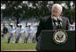 "Vice President Dick Cheney delivers his remarks at the Armed Forces Farewell Tribute and Retirement Ceremony for Vice Chairman of the Joint Chiefs of Staff Admiral Edmund P. Giambastiani, Jr., Friday, July 27, 2007, at the United States Naval Academy in Annapolis, Md. ""He will always be remembered as one of the military leaders who brought us into the 21st century -- with a clear understanding of this technological age, and an absolute determination to preserve America's competitive advantage in warfare,"" said the Vice President. ""Years into the future, our military will be better, and our nation will be safer, thanks to the skill and foresight of this Navy admiral."" White House photo by David Bohrer"