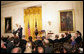 "President George W. Bush speaks during a ceremony honoring recipients of the 2005 and 2006 National Medals of Science and Technology Friday, July 27, 2007, in the East Room. ""Their discoveries have led to hopeful treatments for HIV/AIDS, new vaccines to prevent childhood illnesses, safer drinking water around the world,"" said the President. ""Innovations are responsible for the CD players in our homes, the guardrails on our highways, the stealth fighters in our Air Force. Their breakthroughs have helped make it possible for burn victims to heal with fewer scars, and older people to hear more clearly, businesses to e-mail documents around the world, and doctors to administer medicine without needles."" White House photo by Eric Draper"