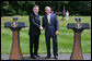 "President George W. Bush and British Prime Minister Gordon Brown stand together during their joint press availability Monday, July 30, 2007, at Camp David near Thurmont, Md. ""So everybody is wondering whether or not the Prime Minister and I were able to find common ground, to get along, to have a meaningful discussion. And the answer is, absolutely,"" said President Bush. White House photo by Chris Greenberg"