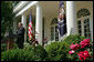 "President George W. Bush addresses the press in the Rose Garden after meeting with his Cabinet Thursday, Aug. 2, 2007. ""One of the things we discussed was the terrible situation there in Minneapolis,"" said President Bush. ""We talked about the fact that the bridge collapsed, and that we in the federal government must respond and respond robustly to help the people there not only recover, but to make sure that lifeline of activity, that bridge, gets rebuilt as quickly as possible."" White House photo by Chris Greenberg"