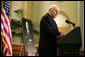 "Vice President Dick Cheney delivers remarks, Thursday, August 2, 2007, at a memorial Service for former Representative Guy A. Vander Jagt at the U.S. Capitol. ""From the first days of the 90th Congress to the last days of the 102nd, Guy Vander Jagt was a standout member of this House,"" said Vice President Cheney. ""I'd wager that each of his colleagues, and each person in this room today, can recall a time when Guy did something especially generous or considerate just for us. For my part, there are many."" White House photo by David Bohrer"