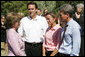 Mrs. Laura Bush meets with Minnesota Governor Tim Pawlenty, left, his wife, Mary Pawlenty and Minneapolis Mayor R.T. Rybak, right, at the site of the I-35W bridge collapse Friday, Aug. 3, 2007 in Minneapolis. Mrs. Bush also visited an emergency operations center and met with volunteers and first responders. White House photo by Chris Greenberg
