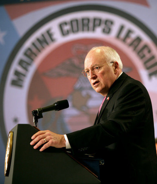 "Vice President Dick Cheney delivers remarks, Monday, August 6, 2007, to the annual convention of the Marine Corps League in Albuquerque, N.M. ""The men and women of the Marine Corps have done more than defend this nation -- they have enhanced the character of this nation,"" said the Vice President. ""Marines have been on the front lines of virtually every war, carrying out hundreds of successful missions on foreign shores. Marines have taken and held ground in some of the most perilous and desperate circumstances ever seen in warfare. And in their courage they have written some of the noblest chapters in military history."" White House photo by David Bohrer"