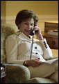 "Mrs. Laura Bush called Barbara Morgan—an astronaut and former teacher who will travel to space for the first time—from the private residence of the White House Tuesday, Aug. 7, 2007. Mrs. Bush expressed congratulations from ""one schoolteacher to another"" and noted that she and the President appreciate Ms. Morgan's commitment to America's space program, to teaching, and to students. Ms. Morgan is a mission specialist for the flight of the Space Shuttle Endeavour to the International Space Station, scheduled to launch August 8, 2007. White House photo by Shealah Craighead"