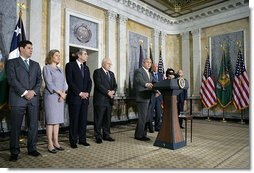 "President George W. Bush stands with his economic advisors as he delivers a statement to the press Wednesday, Aug. 8, 2007, at the U.S. Department of Treasury in Washington, D.C. ""Since 2003, our economy has added more than 8.3 million new jobs and almost four years of uninterrupted growth,"" said President Bush. ""We continue to grow at a steady pace, and during the most recent quarter, it grew at an annual rate of 3.4 percent."" White House photo by Chris Greenberg"