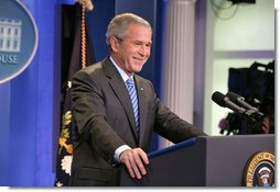 President George W. Bush holds a press conference Thursday, Aug. 9, 2007, in the James S. Brady Press Briefing Room. White House photo by Eric Draper
