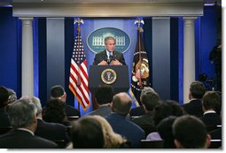 "President George W. Bush holds a press conference Thursday, Aug. 9, 2007, in the James S. Brady Press Briefing Room. ""Today I'm going to sign into law a bill that supports many of the key elements of the American Competitiveness Initiative,"" said the President. ""This legislation supports our efforts to double funding for basic research in physical sciences.""  White House photo by Chris Greenberg"