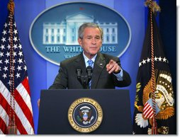 President George W. Bush calls on a reporter during a press conference Thursday, Aug. 9, 2007, in the James S. Brady Press Briefing Room. White House photo by Chris Greenberg