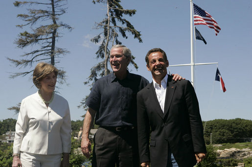 President George W. Bush and Laura Bush welcome President Nicolas Sarkozy of France upon his arrival to Walker's Point Saturday, August 11, 2007, in Kennebunkport, Maine. White House photo by Joyce N. Boghosian