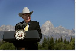 Vice President Dick Cheney delivers remarks Saturday, Aug. 11, 2007, during a dedication ceremony for the Craig Thomas Discovery and Visitor Center in Grand Teton National Park in Moose, Wyo. The center, named after the late Republican Sen. Craig Thomas who died June 4 while being treated for leukemia, features an interpretive center, art gallery and 30-foot windows that offers views of the Teton Range. White House photo by David Bohrer