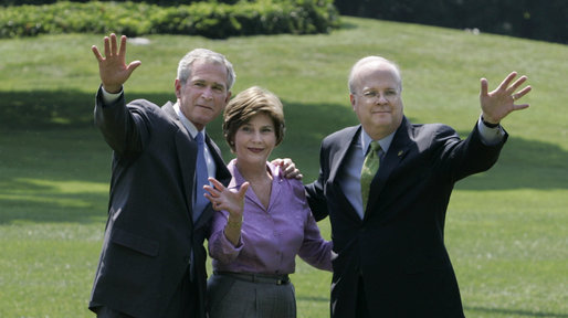 President George W. Bush stands with Mrs. Laura Bush and Deputy Chief of Staff Karl Rove on the South Lawn Monday, August 13, 2007, shortly after his longtime friend and senior advisor announced his resignation. White House photo by Joyce N. Boghosian