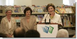 "Mrs. Laura Bush delivers remarks at the Westbank Community Library in Austin, Tuesday, August 14, 2007, where the construction of the Laura Bush Community Library was announced. ""Libraries have been a part of my life. since my mother first took me to the Midland Public Library when I was a child,"" said Mrs. Bush. ""You can imagine how thrilled I am."" White House photo by Shealah Craighead"