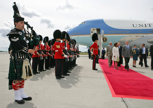 President George W. Bush walks with Governor General Michaelle Jean upon his arrival to Ottawa, Canada, Monday, Aug. 20, 2007, for the North American Leaders' Summit. White House photo by Eric Draper