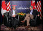 President George W. Bush meets with Canadian Prime Minster Stephen Harper during the North American Leaders' Summit Monday, Aug. 20, 2007, in Montebello, Canada. White House photo by Eric Draper