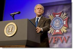 "President George W. Bush, delivering his remarks Wednesday, Aug. 22, 2007, to the Veterans of Foreign Wars National Convention in Kansas City, Mo., said ""So long as we remain true to our ideals, we will defeat the extremists in Iraq and Afghanistan."" White House photo by Chris Greenberg"