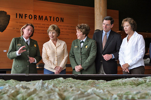 "Mrs. Laura Bush speaks to Junior Rangers during her visit to Grand Teton National Park Aug. 27, 2007, in Moose, Wyo. ""One of the most fabulous national parks in Wyoming and in the United States is the one we're in right now, the Grand Teton,"" said Mrs. Bush. ""Home to some of the most awe-inspiring landscapes in the world, this park is known for its magnificent mountain range, its pristine lakes, and its sagebrush-covered valley."" White House photo by Shealah Craighead"