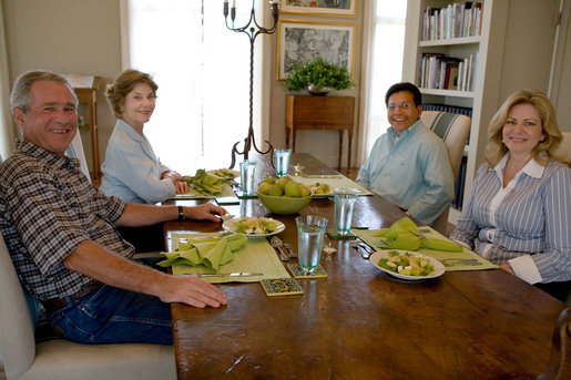 "President George W. Bush and Mrs. Laura Bush sit with U.S. Attorney General Alberto Gonzales and his wife, Rebecca, during a visit Sunday, Aug. 26, 2007, at the Bush Ranch in Crawford, Texas. The Attorney General's resignation was announced Monday morning. In a statement, the President said, ""Al Gonzales is a man of integrity, decency and principle. And I have reluctantly accepted his resignation, with great appreciation for the service that he has provided for our country."" White House photo by Chris Greenberg"