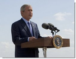 "President George W. Bush addresses the press upon his departure from Waco, Texas, Monday, Aug. 27, 2007. ""This morning, Attorney General Alberto Gonzales announced that he will leave the Department of Justice, after two and a half years of service to the department,"" said the President. ""Al Gonzales is a man of integrity, decency and principle. And I have reluctantly accepted his resignation, with great appreciation for the service that he has provided for our country."" White House photo by Chris Greenberg"