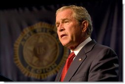 "President George W. Bush addresses the American Legion 89th Annual Convention Tuesday, Aug. 28, 2007, in Reno, Nev., where President Bush told Legion members, ""We seek a Middle East of secure democratic states that are at peace with one another, that are participating in the global markets, and that are partners in the fight against the extremists and radicals."" White House photo by Chris Greenberg"