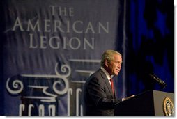 President George W. Bush addresses the American Legion 89th Annual Convention Tuesday, Aug. 28, 2007, in Reno, Nev. White House photo by Chris Greenberg