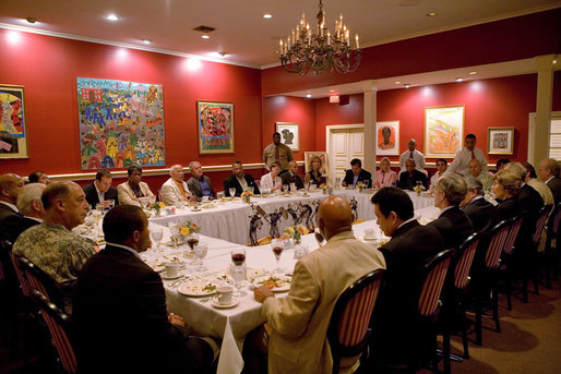 President George W. Bush and Mrs. Laura Bush attend a dinner with cultural and community leaders at Dooky Chase Restaurant in New Orleans, La. White House photo by Chris Greenberg