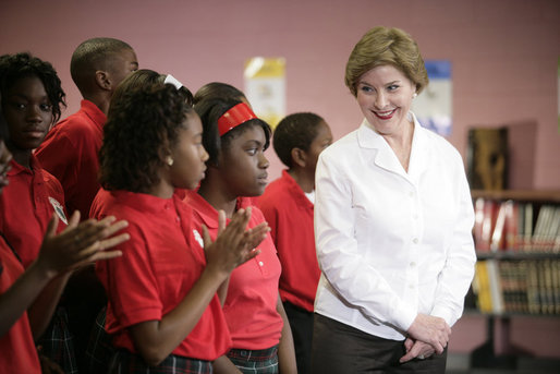 Mrs. Laura Bush thanks students for their applause as she is introduced during her visit with President George W. Bush to the Dr. Martin Luther King Jr. Charter School for Science and Technology,Wednesday, Aug. 29, 2007, in New Orleans. White House photo by Shealah Craighead