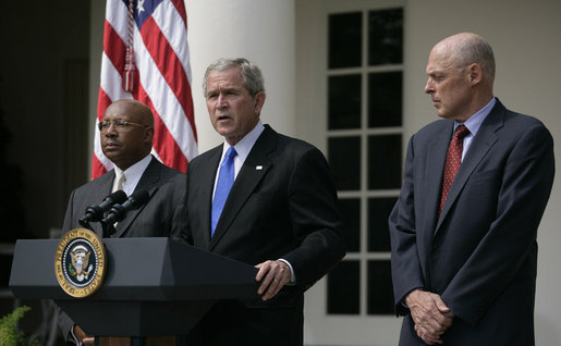 "President George W. Bush stands with Secretary Alphonso Jackson, of the Department of Housing and Urban Development, and Secretary Henry Paulson Jr.,of the Department of Treasury, during a statement Friday, Aug. 31, 2007, in the Rose Garden regarding homeownership financing. ""Owning a home has always been at the center of the American Dream. Together with the United States Congress, I will continue working to help make that dream a reality for more of our citizens."" White House photo by Shealah Craighead"