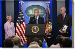 "President George W. Bush announces that he has accepted the resignation of Press Secretary Tony Snow and selected Deputy Press Secretary Dana Perino to succeed Mr. Snow as White House Press Secretary Friday, Aug. 31, 2007, in the James S. Brady Press Briefing Room. ""Tony Snow informed me he's leaving. And I sadly accept his desire to leave the White House, and he'll do so on September the 14th,"" said President Bush. White House photo by Chris Greenberg"