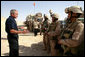 President George W. Bush speaks to members of the Regimental Combat Team-2, Marine Wing Support Combat Patrol at Al Asad Airbase, Al Anbar Province, Iraq, Monday, September 3, 2007. White House photo by Eric Draper