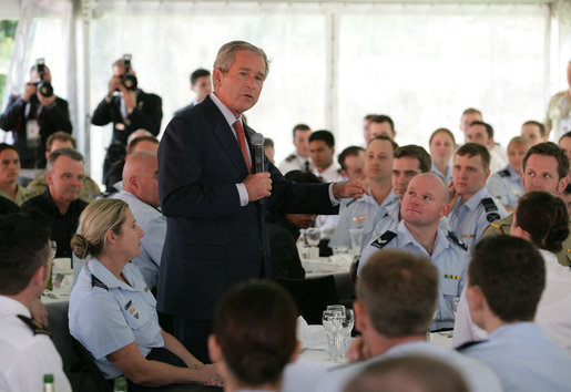 "President George W. Bush addresses members of the Australian Defense Force during a luncheon Wednesday on Garden Island in Sydney. The President told the troops, ""I believe we are writing one of the great chapters in the history of liberty and peace.So I want to thank you."" White House photo by Eric Draper"