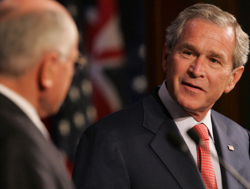 President George W. Bush acknowledges his host, Australia's Prime Minister John Howard, during their joint press availability Wednesday, Sept. 5, 2007, in Sydney. White House photo by Chris Greenberg