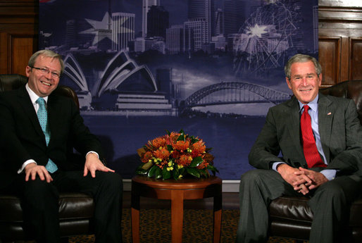 President George W. Bush sits with Kevin Rudd, leader of the Australian Labor Party, during a meeting Thursday, Sept. 6, 2007, in Sydney. White House photo by Eric Draper