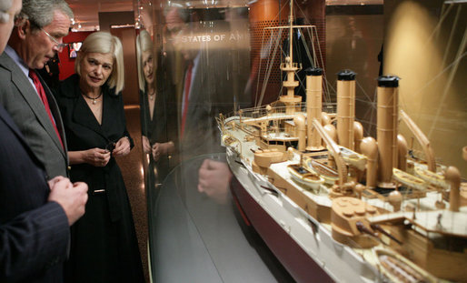 President George W. Bush listens as Mary-Louise Williams, director of the Australian National Maritime Museum, describes one of the exhibits on display during a tour Thursday, Sept. 6, 2007, in Sydney. White House photo by Eric Draper
