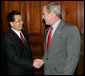 President George W. Bush greets China's President Hu Jintao Thursday, Sept. 6, 2007, as the two leaders met in Sydney, where they will join fellow APEC leaders Friday for the 2007 summit. White House photo by Eric Draper