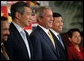 President George W. Bush smiles as he stands for a group photo with Southeast Asian Leaders Friday, Sept. 7, 2007, following a luncheon at the InterContinental in Sydney. Standing with him are Prime Minister Lee Hsien Loong of Singapore, left, Noer Hassan Wirajuda, Indonesian Minister of Foreign Affairs, and President Gloria Macapagal-Arroyo of the Philippines. White House photo by Eric Draper
