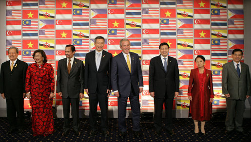 President George W. Bush joins leaders of the Association of Southeast Asian Nations for a photo opportunity Friday, Sept. 7, 2007, in Sydney. From left are: Prime Minister Surayud Chulanont of Thailand; Minister Rafidah Aziz of Malaysia; Sultan Haji Hassanal Bolkiah of Brunei; President Bush; Foreign Affairs Minister Noer Hassan Wirajuda of Indonesia; President Gloria Macapagal-Arroyo of the Philippines, and President Nguyen Minh Triet of Vietnam. White House photo by Chris Greenberg