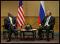 "President George W. Bush and President Vladimir Putin of Russia, meet Friday, Sept. 7. 2007, in Sydney prior to the opening of the Asian Pacific Economic Cooperation summit. Said President Bush of their visit, ""We are results-oriented people. We want to help solve problems. And we recognize that we can do better solving problems when we work together."" White House photo by Eric Draper"