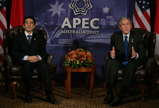 "President George W. Bush makes remarks during a meeting Saturday, Sept. 8, 2007, with Japan's Prime Minister Shinzo Abe at the InterContinental hotel in Sydney. Said the President, ""Mostly, I want to thank the Prime Minister, his government and the Japanese people for their contribution in the war against terror. The role that Japan plays in this fight is a vital role, and it's a necessary role."" White House photo by Eric Draper"