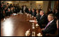 President George W. Bush talks with reporters prior to the start of a Bicameral and Bipartisan Leadership meeting Tuesday, Sept. 11, 2007, at the White House, where President Bush invited the leadership to share their thoughts about Iraq following the report to Congress by General David Petraeus and Ambassador Ryan C. Crocker. White House photo by Eric Draper